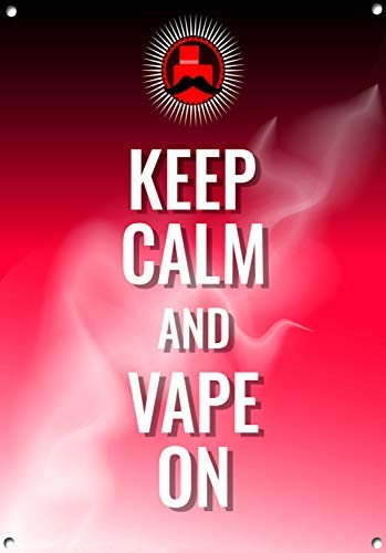 HSSS Metallschild, Aufschrift Keep Calm Vape On Vaping Cloud Chasing Vape Vape Cafe E-CIG Man Cave Bar Decor Vapour Lounge Smoke Blechschild, 20,3 x 30,5 cm