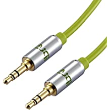 IBRA Cable de Audio Estéreo | 3,5mm Jack macho a 3,5mm macho | 1,5 Metro | Verde | Para iPhone 6S Plus, 6,5, iPad, Smartphones, Tablets y Reproductores Multimedia