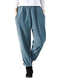 ORANDESIGNE Pantalones Largos de Mujer Cintura Elástica Roll Up Pantalones  de Pana Pantalones de Cintura Alta Pantalones Moda… a0d314fd285c