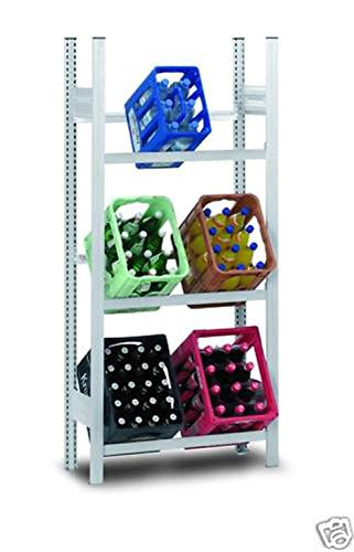 Hofe PROFI Getränkekistenregal für 6 Kisten, 175x81x34 cm | Getränkekistenhalter aus metall | Getränkekistenständer | Kistenständer für Getränke | Kistenhalter | Kistenregal | Getränkeregal