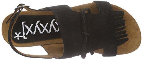 xyxyx - Sandale, Scarpe col tacco con cinturino a T Donna Nero (Nero (nero))