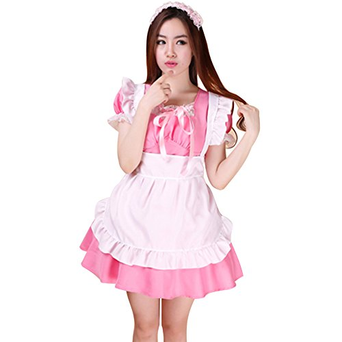 LSERVER Nette Frauen Schürze Maid Kostüm Anime Cosplay Kostüm Girls - Anime Girl Cosplay Kostüm