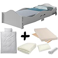 Bebegavroche Complete Pack = Grey Romance Bed + Mattress & Bedding Set Duvet + Pillow +