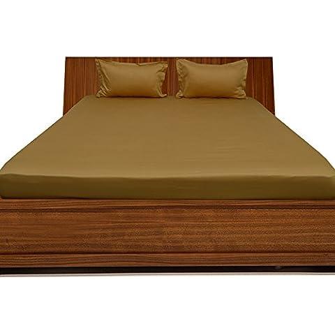 300TC 100% cotone egiziano Elegante Finitura 3pcs Lenzuolo con angoli solido (tasca dimensioni: 17inches), Cotone, (Harrison Bed Set)