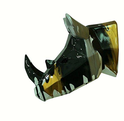 Meubletmoi Tête rhinocéros décoration Murale Style cubique- Blanc doré Noir Gris - Objet Design Moderne