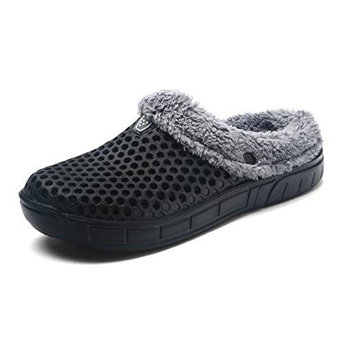 Unisex Clogs Hausschuhe mit Herausnehmbarem Gefüttert Winter Warme Plüsch Pantoletten Schuhe Rutschfest Runde Sohle für Herren Damen, Schwarz, 38 EU (Clogs Und Pantoletten)