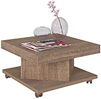 Artely Saara Coffee Table with Casters, Cinnamon Brown, W 63 cm x D 63 cm x H 33.5 cm