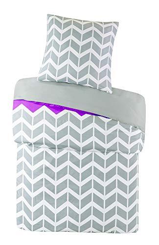 SCM Bettwäsche 135x200cm Grau Lila Mikrofaser 2-teilig Bettbezug & Kissenbezug 80x80cm Geometrisch Chevron Nadia Ideal für Schlafzimmer