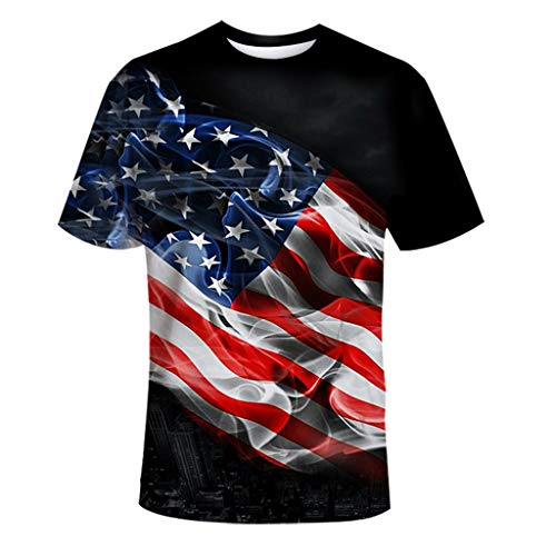 ZEELIY ✔️ Herren T-Shirt Amerika Flagge ✔️ USA Flag 3D Print Comfort Fit Mode Freizeit Runder Ausschnitt Kurzarm Tops (Store Lego Gun)