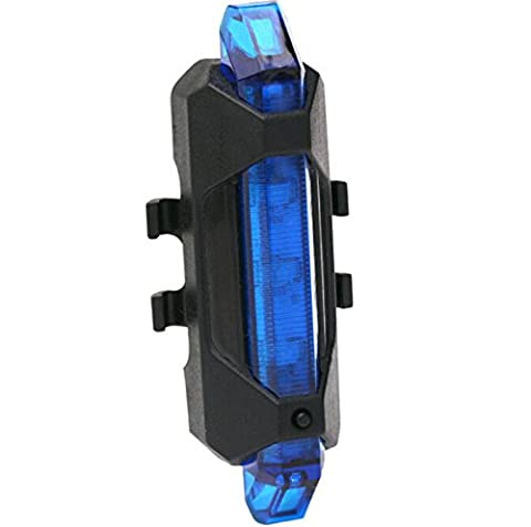 Bicycle Cycling Back Tail Rear LED Warning Safety Light Lamp. USB Rechargeable (Blue)