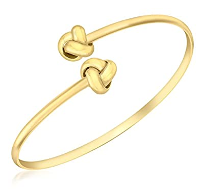Carissima Gold 9 ct Yellow Gold Bangle Crossover Knot