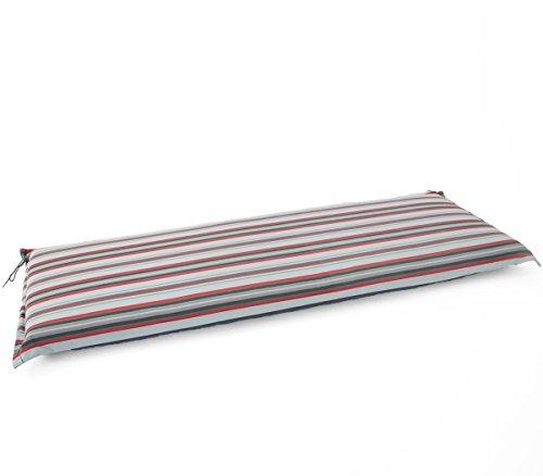 Hambiente 3 Sitzer Bank Auflage ca. 150 x 50cm waschbar mit Reißverschluss grau-rot gestreift