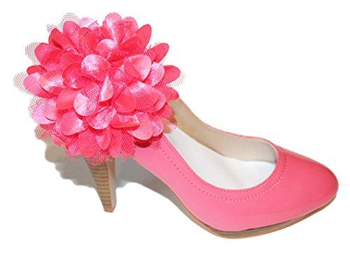 """La Loria - Donna Clip Decorative Per Scarpe """"Big Pink"""" Gioielli, Spille, le clip del pattino in colore rosa - 1 Coppia"""