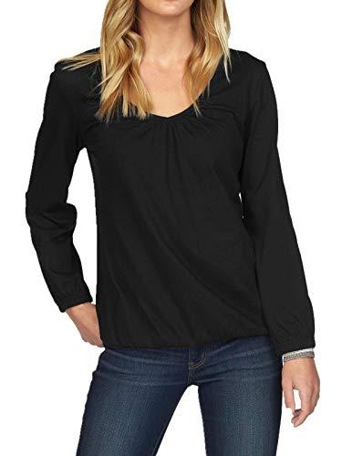 Uniquestyle Damen Elegante Langarmshirts V-Ausschnitt Langarm Bluse FaltenT-Shirt Tops Schwarz XXL