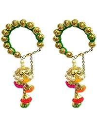 Loops N Knots Green Bangle With Multi Colour Charm Hangings/Lumba Rakhi/Wrist Band/Armlet/Bracelet For Girls/Bhabhi...