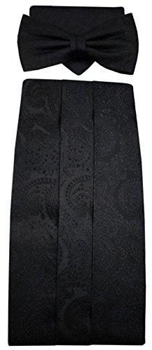 ohne Markenname G8 Kummerbund Einstecktuch Fliege schwarz 100% Seide gemustert Gr. 85 bis 110 cm