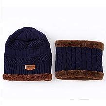 AEGKH Sombrero Hecho Punto Gorro Bufandas Gorro de Invierno Sombreros para Hombres Mujeres Gorro cálido 6