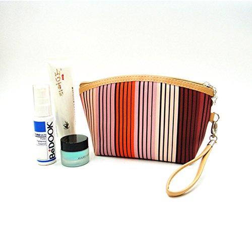 Five Season Femme Sac Cosmetique Aplati Trousse de Maquillage A Main Orange Rayure Multicolore