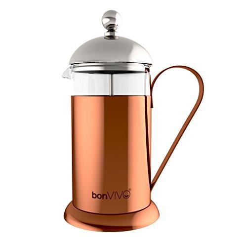 bonVIVO® GAZETARO II, Design-Kaffeebereiter und French Press in Kupfer-Chrom Optik aus Edelstahl und Glas, mit Filter