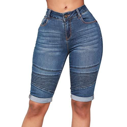Zolimx Damen Mid Rise Elastic Zip Skinny Denim Knielang Curvy Stretch Shorts Jeans Zip Tank Kleid
