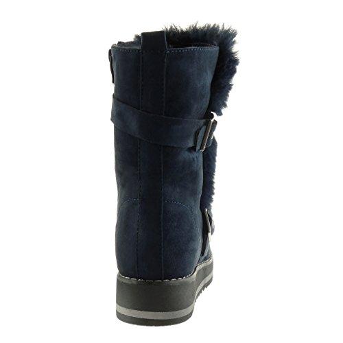 Angkorly - Chaussure Mode Bottine bottes de neige plateforme femme fourrure lanière boucle Talon haut bloc 3.5 CM - Intérieur Fourrée Bleu