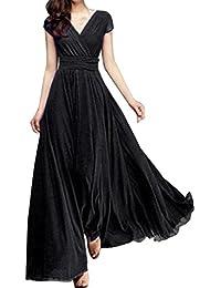 Beikoard Vestito Donna Elegante Abbigliamento Vestito Donna Vestito Lungo da  Sera da Sera con Scollo a e13266e23a7