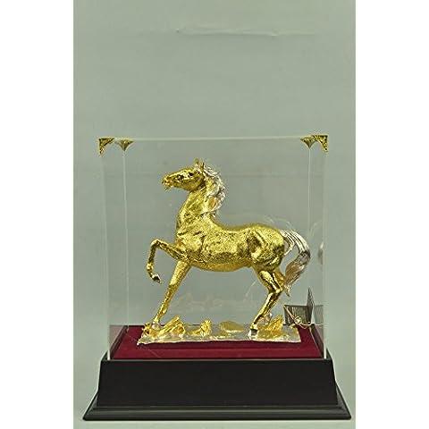 Statua di bronzo Scultura...Spedizione Gratuita...Grande oro 24K placcato cavallo stallone(SHO-754GB-JP)Statue Figurine Figurine Nude per ufficio e casa Décor Primo Giorno Collezionismo Articoli da r