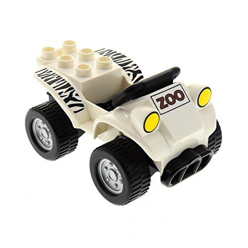 1 x Lego Duplo Auto Quad weiß schwarz Safari PKW Fahrzeug Jeep Zoo Zebra Streifen 54007 54005 E50