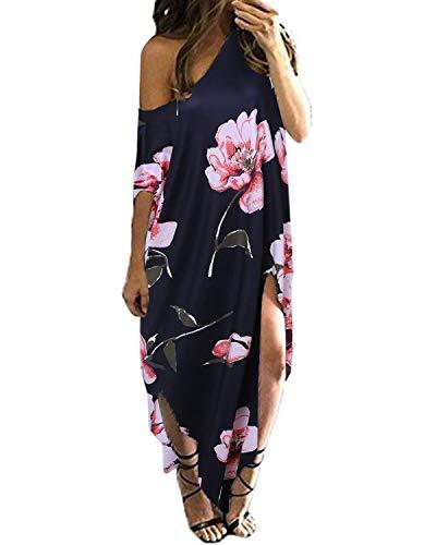 Cool, Sommer Kleid (Kidsform Maxi Kleid Damen Sommer Blumen EIN Schulter Kleid Kurzarm Lose Lange Strandkleid EU 40-42/Etikettgröße M Blau)