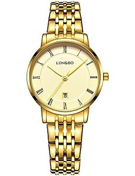 edel alles Gold für Frauen mit römischen Ziffern zeigen Datum Uhr Edelstahl quarzt Uhren