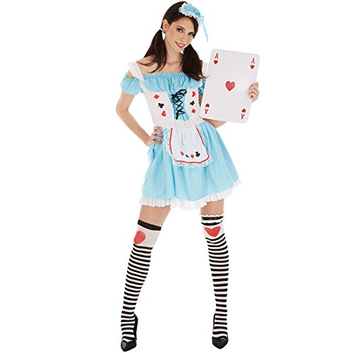 Frauenkostüm sexy Spielkarten Dame | kurzes, sexy Kleid | aufgenähte Schürze und sexy Schnürung | inkl. Kniestrümpfe und Kopfbedeckung (XXL | Nr. 301049)