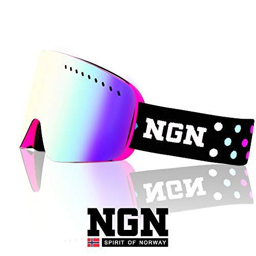 NGN Skibrille Rosa   Snowboard Brille   UV Schutz   Wechselsystem zum stecken   verspiegelt   Ski Brille für Damen, Frauen & Mädchen   Anti-Beschlag   helmkompatibel   Ski Goggles Unisex
