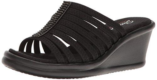 Skechers Cali Women's Rumblers Hot Shot Wedge Sandal, Black/Black, 9 M US Skechers Womens Heels
