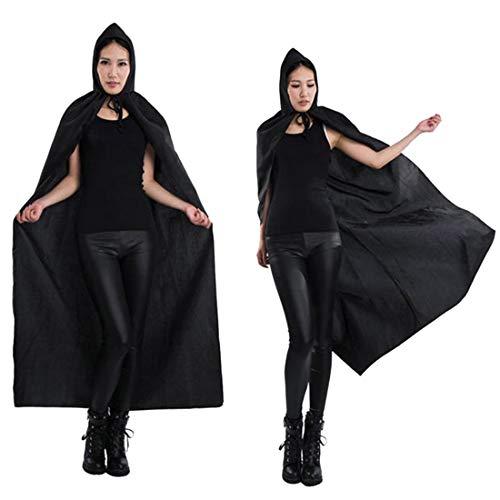 FLYA Halloween Death Cape Umhang Adult Velvet Hooded Cloak Vampire Masquerade Mit Kapuze Robe,1.3m-Black