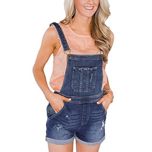 VIGVOG Damen Juniors Denim Baumwolle Kurze Latzhose Stretch Niedliche Jeans Shorts - blau - XX-Large -