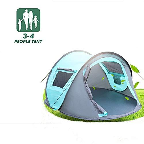 4 Personen tragbare Falten einfach Pop-Up-Zelt, Doppel-Reißverschluss-Design,