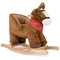 Plush Horse Animal Rocker, Baby Rocking Horse, Toddler Ride On, Soft Padded Seat with Backrest, 18 Months to 3 Years Old