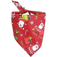 UKCOCO Weihnachten Gedruckt Hund Katze Bandana Dreieck Lätzchen Schal Zubehör (Rot)