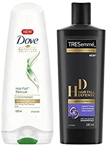 Dove Hair Fall Rescue Conditioner, 180ml & TRESemme Hair Fall Defense Shampoo, 340ml