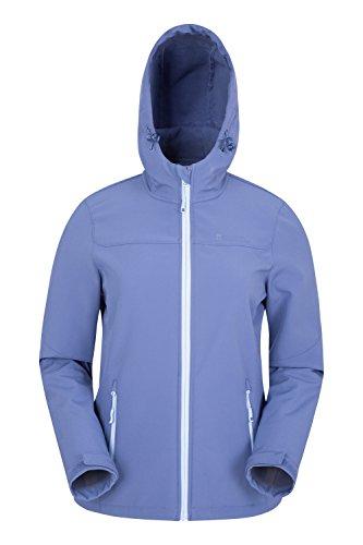 Mountain Warehouse Exodus Wasserbeständige Softshelljacke für Damen - Atmungsaktiver Damenmantel, Abgerundete Rückenpartie - Regenmantel für Den Alltag und Kaltes Wetter Blau DE 40 (EU 42)