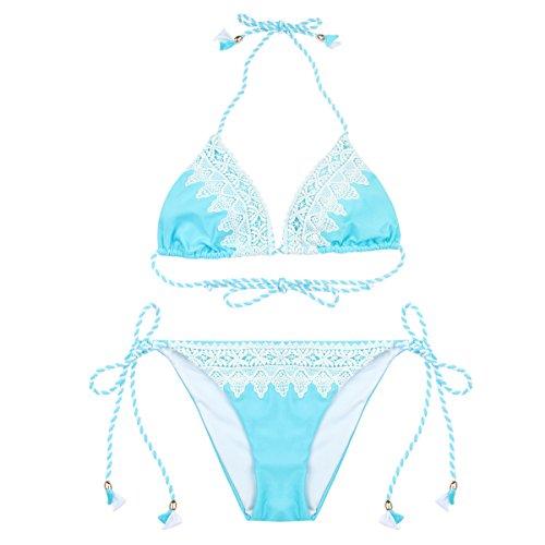 RELLECIGA Damen Bademode Triangel Bikini Set Unterteil im Brasil Style Spitze Crochet Baby Blau