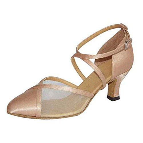 YFF Regalo donne danza scarpe ballo latino ballo tango danza scarpe 6CM Apricot color