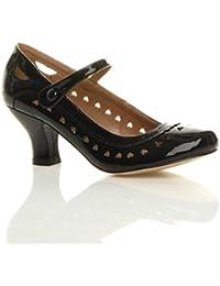 12ba3e507994ca Damen Herzmuster Mary Jane Mittlerer Hohe Absatz Ausschneiden Pumps  Klassisch Schuhe Größe