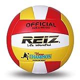Kaemma REIZ Doux PU Volleyball Officiel Taille 5# Volleyball Professionnel Ballon D'entraînement Intérieur Et Extérieur avec Cadeau Gratuit Aiguille (Color:Red & White & Yellow)