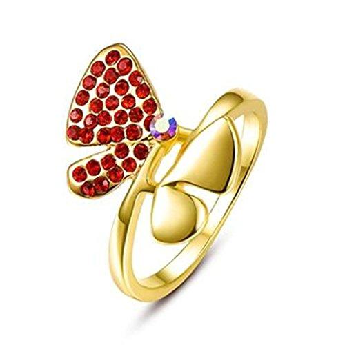 Schmetterlinge Dvd Schwarze (Aeici Gold Ringe für Damen Modestil Schmetterling Kristall Ringee Versprechen Größe 57 (18.1))