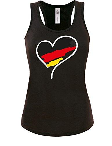 Angry Shirts Weltmeisterschaft 2018 WM Deutschland Herz - Damen Tanktop, S, Schwarz/Weiß-schwarz-rot-gelb