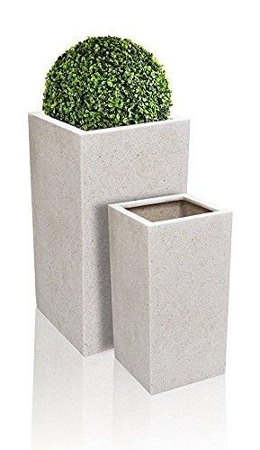Petit Cache Pot Cubique Poly Terrazzo - Blanc H60cm x 30cm - 48 Litres