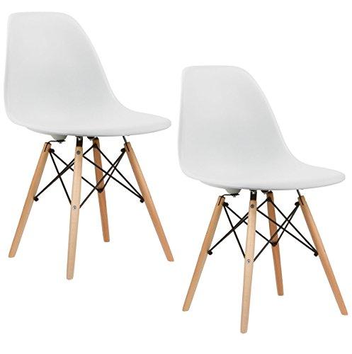 2x crazygadget Retro Design Style Stuhl für Büro Lounge Küche Wohnzimmer-Weiß