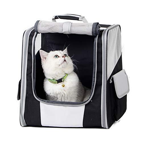 Texsens Innovative Traveler Bubble Rucksack Transportboxen Airline Travel Zugelassen Carrier umschaltbar Mesh Panel für Katzen und Hunde, One Size, Schwarz