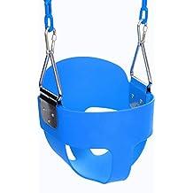 Befied Columpio para Niños de Jardín con Asiento de Respaldo Plástico Proteger la Seguridad del niño con Cadena de Metal 1.5 M